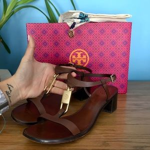 Tory Burch Padlock Sandals 45mm heel